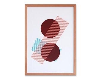 Abstract geometric Screen print (hand pulled) Mauve, Sky blue & pale orange