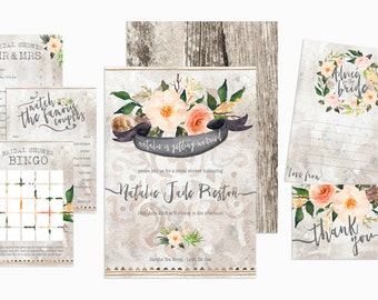 Bohemian Chic Bridal Shower Invitation And Games. Bridal Shower, Hen Do Package