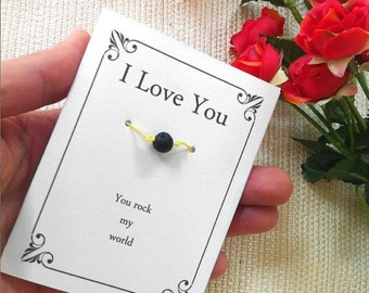 Valentine Sale You Rock My World, Motivational Quote, Wish Bracelet, One-of-a-kind Gift For Her, Him, Couples, Musician, Dad, Mom, Teens, Br