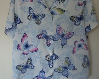 Alred Dunner Butterfly Blouse M/L
