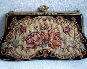 Vintage Petit POint Purse, Handbag, Evening Bag, Black and Cream Floral Design, Hand Embroidered. 1950's