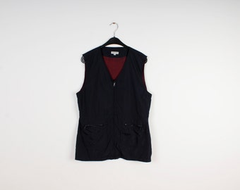 SALE Dark Blue Street One Vest Zipper Windbreaker Vest Traveling Vest