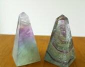 Fluorite Obelisks / Geometric Crystal Tower / Meditation Alter Decor / Multicolored Gemstone / Polished Standing Crystals / Healing Stones /