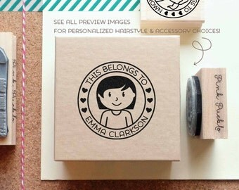 BACK TO SCHOOL Sale Personalized Kids Label Stamp, Personalized Rubber Stamp for Children - Choose Hairstyle and Accessories