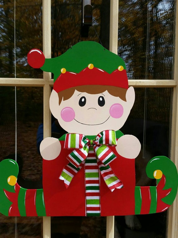 Christmas door hanger elf door hanger christmas wreath for Elf door decoration