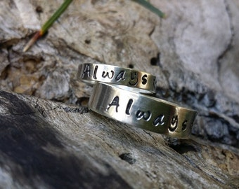 His and her ring set. Poesy ring hand stamped for couples. solid sterling silver couples rings custom hand stamped. Made in Australia