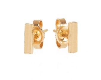 14k gold bar earring studs, solid gold bar studs