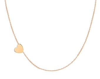 14k gold asymmetrical heart necklace