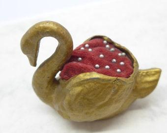 Vintage Gilt Swan Pin Cushion Pincushion Vintage Sewing