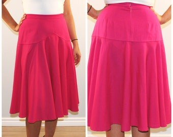 Vintage midi skirt high waist pink circle skirt medium hot pink magenta summer skirt 1970s 70s 1980s 80s small