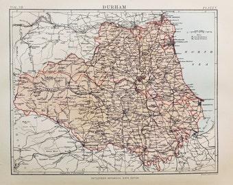 Antique Map of Durham. Encyclopedia Britannica, 1870s