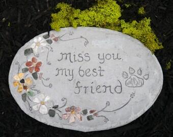 Pet Memorial, Pet Grave Marker, Dog Grave Stone, Pet Grave Stone, Engraved Pet Marker for Garden, All-Natural Mosaic Stepping Stone
