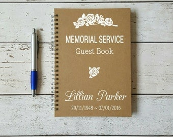 Personalised Memorial Service Guest Book, Remembrance Book, Book of Condolences, Personalised Notebook, In Memory, Journal, Memories