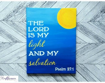 Bible Quote Psalm 27:1 Home Decor Wall Art Canvas
