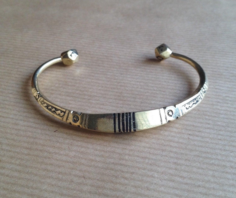 African metal bracelet cuff / ethnic bronze bracelet by ...
