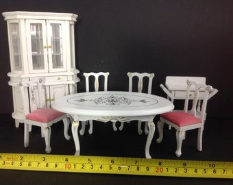 Miniature Dollhouse Dining Room Wood Furniture White/Pink Table/Cabinet Set 1:12