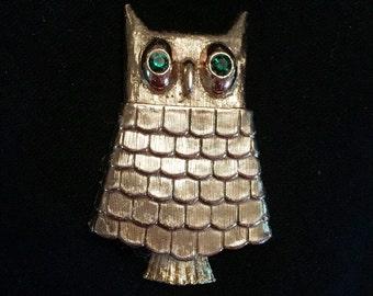 Avon Jeweled Owl Fragrance Brooch / Pin