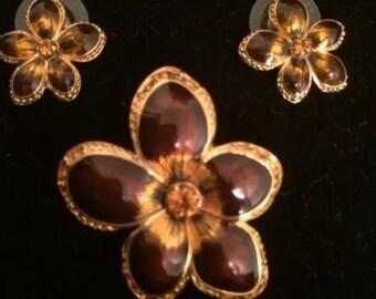 Joan Rivers Pin & Earring Set