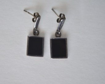 Vintage Sterling Silver 925 Signed M Black Onyx Square Earrings