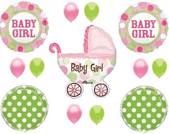 IT'S A GIRL Buggy Carriage Baby Shower Balloons Decoration Supplies Polka Dots