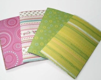 """Handmade Floral Notebook, Notebooks and Notepads, Journals, Pink and Green Floral Notebooks with White Pages, 8"""" x 5  1/4"""" Notebooks"""