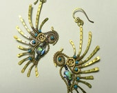 "Earrings ""birds of Paradise""- intricate brass wire-wrapped earrings jewelry, with Abalon, turquoise and clockworks. Size - 8,5x3,5 cm"