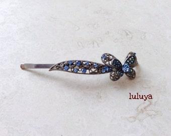 High Quality Butterfly Rhinestone  Pewter Hair Clip Bobby Pin Pretty