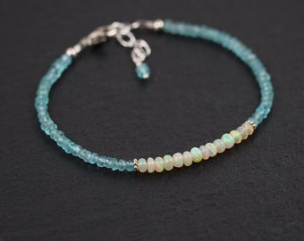 Ethiopian Opal & Apatite Beaded Bracelet in Sterling Silver or Gold Filled. Dainty Stacking Bracelet. Delicate Gemstone Jewelry. Jewellery