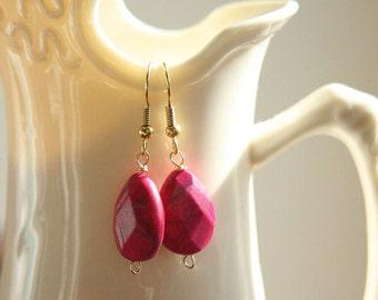 Pink Howlite Teardrop Earrings