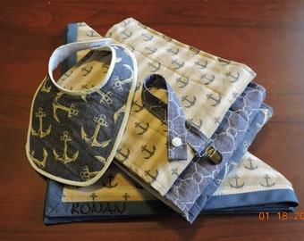 Nautical theme handmade baby shower gift pack large/ blanket, bib, pacifier clip and 3 burp cloths