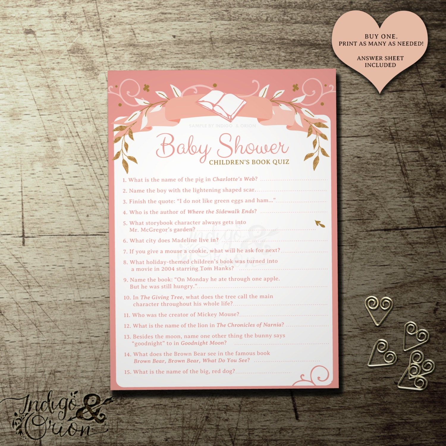 baby shower children 39 s book quiz once upon a time design