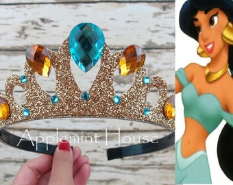 Princess Jasmine Crown,Jasmine Headband, Jasmine Crown,Aladdin crown,Princess Crown,Jasmine Princess Crown,Jasmine Elastic Headband