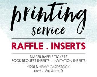"Professional Printing Service // Invitation Insert Card Printing // Diaper Raffle // Book Request Insert //  // Size: 4.875 x 3.5"""