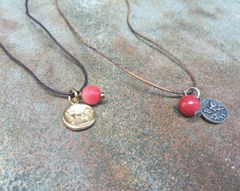 Leather Charm and Stone Necklace