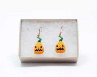 Miniature Crochet Kawaii Cute Seasonal Pumpkin or Candy Corn Halloween Holiday Earrings jewelry accessory Miniature Crochet Amigurumi