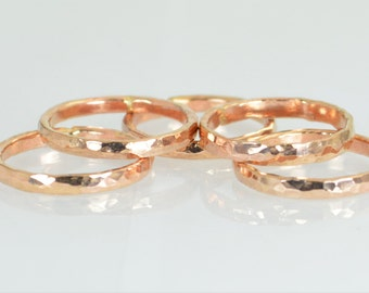 Super Thick Stackable 14k Rose Gold Filled Ring(s), Stack Ring, Rose Gold Ring, Hammered Ring, Thumb Ring, Alari, Stacking Ring, Simple Ring