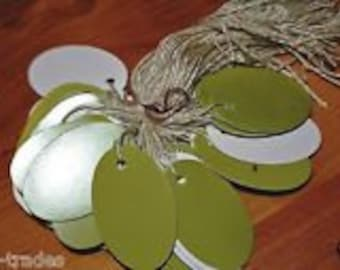 LOT 100 oval sage GREEN Print 1 X 1 5/8 Merchandise Price Tags String STRUNG