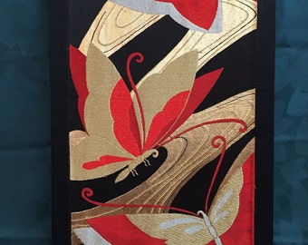 Vintage Japanese obi wall art, from ca. 1970s obi, finished with border and lining over wood stretcher, approx. 14 x 24 inches, great, SALE!