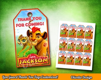 Lion Guard Tags - Thank You Tags - Tag Gift Tag Printable DIY, Printable 8.5x11, Lion Guard favor, Lion Guard tags - Customized Digital File