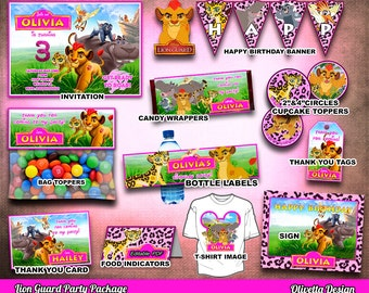 Lion Guard Party Package, Printable Party Customized with name, Lion guard - Invitation Banner Food Tent Labels Wrappers - Digital Files