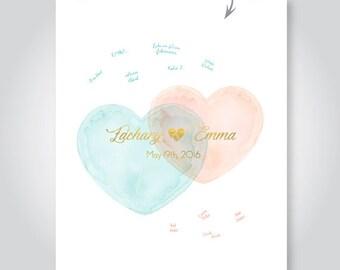 watercolor hearts wedding guest book alternative anniversary gift bridal shower sign in signature poster jpg digital print pdf PRINTABLE