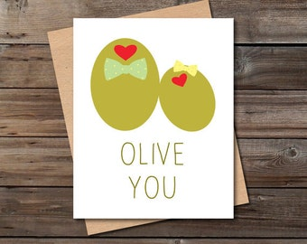 olive you funny love card download cute anniversary card for him her printable kitchen wall art decor jpg poster digital instant download