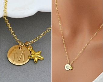 Personalized Starfish Necklace, Initial Disc, Tiny Starfish Pendant, Starfish Jewelry, Beach Necklace, Gold, Silver