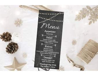 Thanksgiving Menu Printable, Digital Download Chalkboard, Thanksgiving Christmas Menu, Personalized Menu DIY