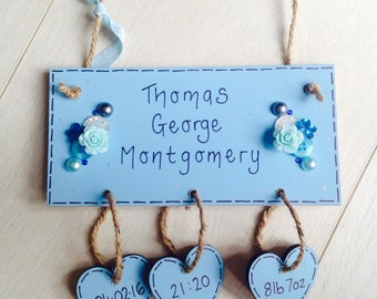 New baby plaque. New baby boy or gift,