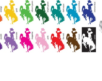 "3"" Wyoming Cowboys Bucking Horse Vinyl Sticker/Decal (Steamboat) Tall Multiple colors available"