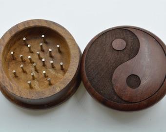 "2"" 2pc Ying Yang Wooden Herb Grinder"