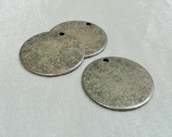 5 Pcs Antique Silver 25 mm Round Stamping Blank Disc ( 1 Hole -Thickness Of 1 mm ) 18 Gauge