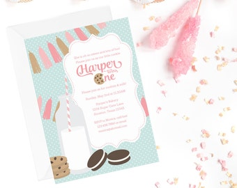 Cookies and Milk Invite | Milk and Cookies Invitation | milk & cookies printable | birthday party invitation | cookie party invite | digital