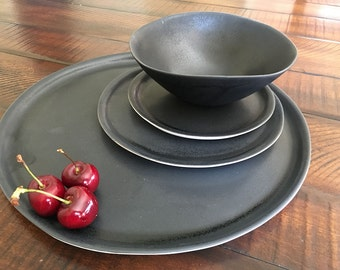 Black Dinnerware Set, Handmade Dinnerware Set, Pottery Plates, Ceramic Dinnerware, Wedding Registry,Minimalist Dinnerware Set